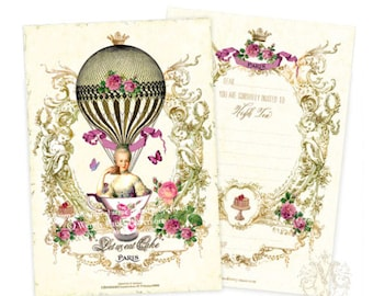 Marie Antoinette, high tea, birthday, bridal shower, tea party, invitations, set of 4