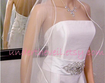 Satin Wedding Veil, Cascading FINGERTIP Satin Ribbon Edge, 1 Tier Veil, Satin Ribbon Edge, Waterfall Satin Veil