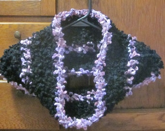 Handmade Cowl Neck Warmer Black Lilac and Purple