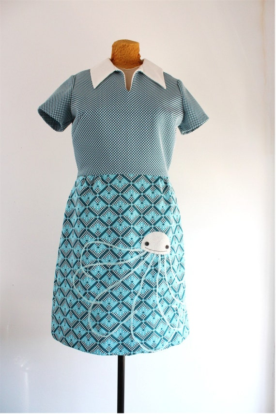 jellyfish dress - vintage 60's 70's shirtdress applique upcycled clothing womens M / L