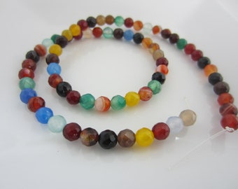 Faceted Agate and Quartz Mixed - 6mm Faceted Round - qty. 1 strand
