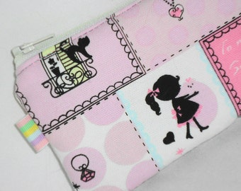 Kawaii Padded Zip Pouch / Patchwork Camera  Bag / Cell Phone Case / Coin Purse / Cosmetic Bag / Toiletry Organizer (Other Colors Available)