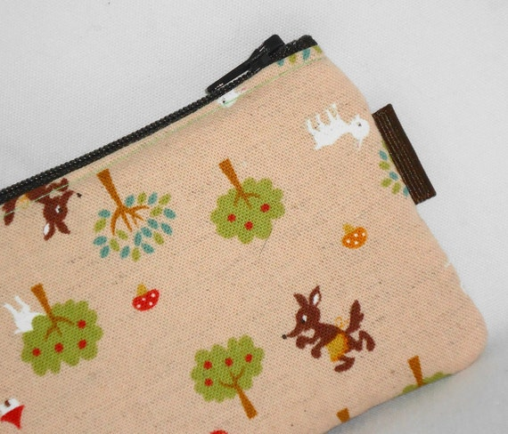 Kawaii Padded Zippered Pouch (Big Bad Wolf)  --- Natural (Camera / Cell Phone Case / Coin Purse)