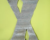 X - Recycled Antique Roofing Tin Letter X by JunkFX Free Shipping