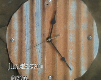 Recyced Upcycled Industrial Roofing Metal Clock by JunkFX Free Shipping