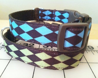 Blue or Green Diamond Dog Collar Size Medium