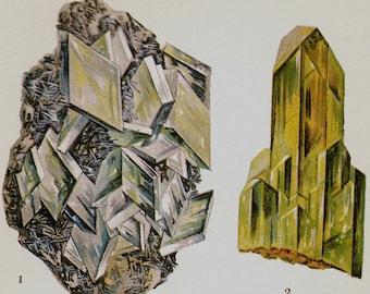 Baryte Anglesite Celestite Crystal Stone Mineral Vintage Lithograph Edwardian Geology Print To Frame 20