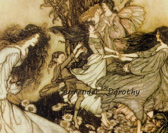 Dancing Fairies Arthur Rackham Vintage Children's Nursery Lithograph Art Print To Frame