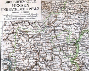 Map Grand Duchy Hesse Province Germany Edwardian1903 Antique Steel Engraving Cartography To Frame