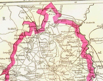 Nottingham England Map 1892 Antique Copper Engraving European Cartography 1892 Victorian Geography Art To Frame