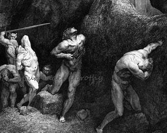 Tormentors of Discord Purgatorio Canto 28 Engraving Gustave Dore Vintage Victorian Engraving