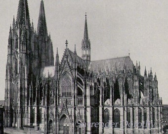 St  Peter Cathedral Colgne Germany 1890 Catholic Church Rotogravure Victorian Photo Gothic Architecture Illustration To Frame