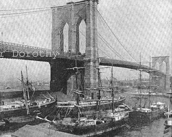 Brooklyn Bridge New York Rotogravure Photo Illustration 1890s East River Bridge