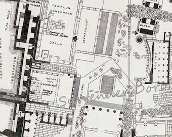 Roman Forum Rome Italy Foum Romanum Ancient Roman Arhitecture 1892 Victorian Antique History Chart