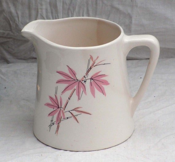 Salem Pink Bamboo Milk Pitcher 1950s Mid Century China Pink Gray Flowers South Seas USA