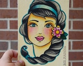 Watercolor Painting - Pretty Gertrude - Tattoo Flash Inspired