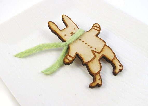 Winter Bunny With Green Scarf Wood Pin