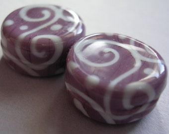 Lampwork Beads Violet Purple Handmade Glass Violet Tabs (2)