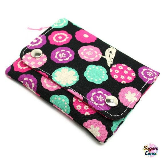 CLEARANCE SALE : Multi Pocket Organizer Wallet - Birds & Flowers