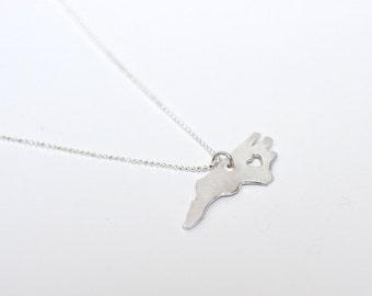 i heart North Carolina State Necklace - Silver - North Carolina Necklace Personalized Heart Custom State Necklace with Heart Sterling Silver