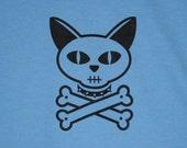 Cat Skull & Crossbones Blue Mens/Unisex Tee