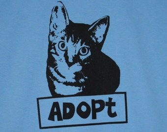 Adopt Cat Blue Mens/Unisex Tee