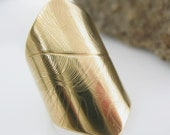 Feather Ring, Cuff Ring, Handmade Brass Ring