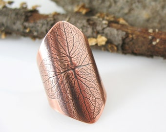 Hydrangea Ring, Adjustable Cuff Ring, Handmade Copper Ring