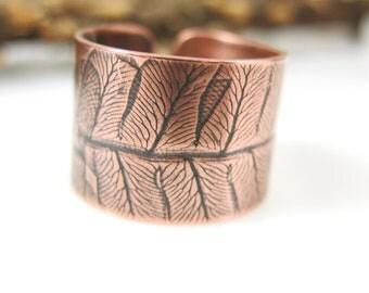 Fern Ring, Copper Cuff Ring, Pressed Fern Ring