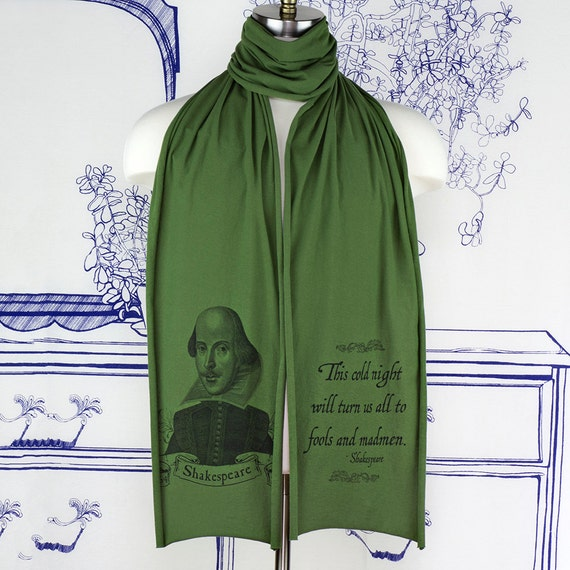 William Shakespeare Screen printed Cotton Scarf