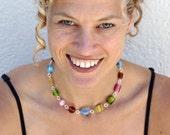 Pyrex necklace: Pastels and vintage stripes