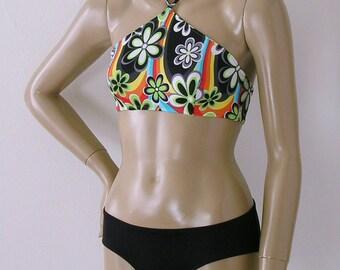 High Neck Halter Bikini Top and Hipster Brief Bottom Two Piece Bikini in Rainbow Print in S.M.L.XL