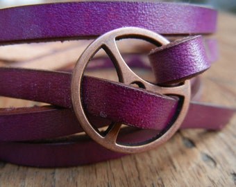 Leather Wrap Bracelet in Violet leather with Small Copper buckle