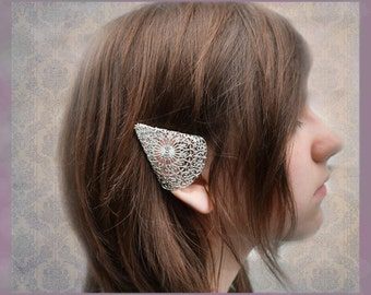 Silver Elf Ear Cuffs Ornate Filigree Elven Ear Tip Covers Two piece set Non  pierced No pierce ON SALE WERE 32.00