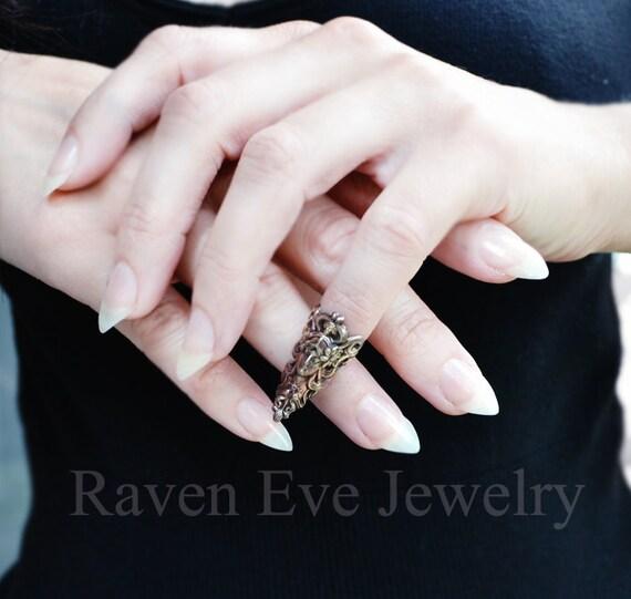 Nail Ring Elf Maiden Elegant Vintage Brass Armor Ring Nail tip jewelry