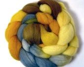 Handdyed English Shetland Wool Roving - Autumn Day - yellow, gold, grey, brown