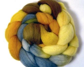 Handdyed English Shetland Wool Roving - Autumn Day - yellow, gold, grey, brown