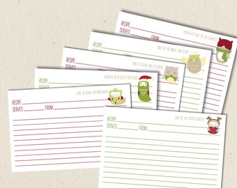 Little Owls at Christmas - Printable and Editable 4x6 Recipe Cards