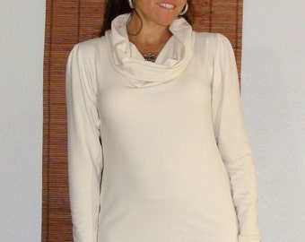 Organic Cowl Neck Top custom made from Organic Cotton and Soybean French jersey