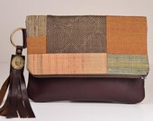 Fold over clutch, vintage kimono and chocolate brown leather, tassel