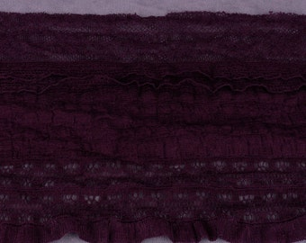 Dark Purple Stretch Lace with Ruffles - Full Roll (E41PL2-FR)