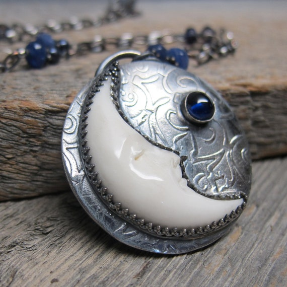 RESERVED Queens of Witches - Aynia Necklace ... Fine Silver Crescent Moon with Iolite