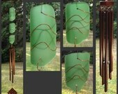 Wind Chimes, Light Green, Beach Glass, Stained Glass, Sea Glass, Copper, Windchimes, Wind Chime