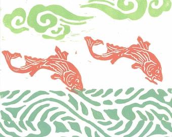 LINO PRINT -  Flying Koi 28 -  Monoprint - Children Wall Art - Relief Print