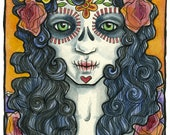 Day of the Dead watercolor painting by Adrienne Trafford