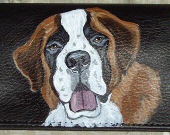 Saint Bernard Dog Custom Painted Leather Checkbook Cover
