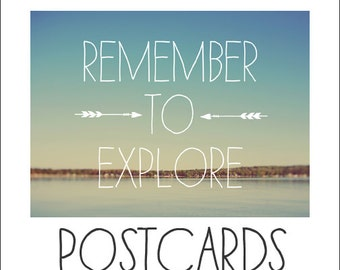 Postcards - Single Card - Blank Cards - Remember to Explore - Summer Art - Beach Print - Stationary - Typography  Print - Motivational Print