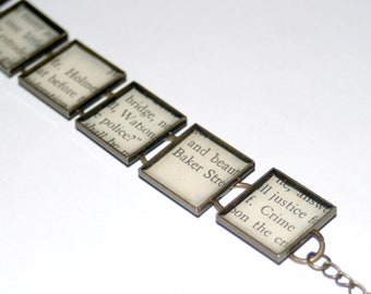 Sherlock Holmes Recycled Book Bracelet - Bookworm Bibliophile Book Lover Gift
