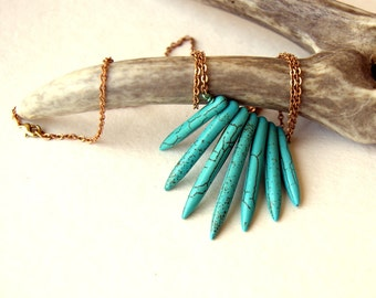 Turquoise Howlite Spike Necklace - dagger necklace - stone necklace - gemstone necklace - vintage brass chain - boho chic - bohemian jewelry