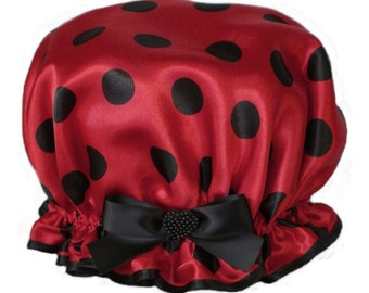 Ladies  Pretty Shower Cap - Love Bug Ladybug Design